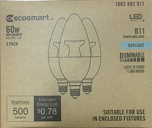 3-Pack Ecosmart 60 Watt Equivelent LED Dimmable Candelabra Daylight Uses 6 Watts Daylight 5000 K 500 Lumens