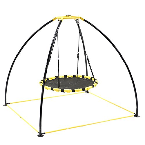 JumpKing JKBK-UFO Backyard 360 Degree Adjustable Height UFO Swing Set, Yellow