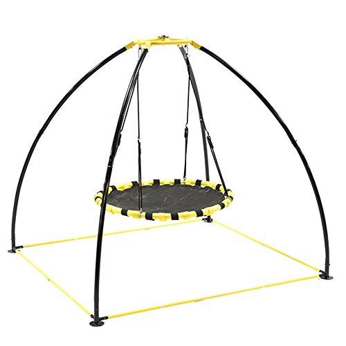 JumpKing JKBK-UFO Backyard 360 Degree Adjustable Height UFO Swing Set, Yellow ()