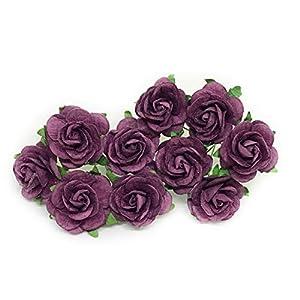 "1"" Purple Plum Paper Flowers Paper Rose Artificial Flowers Fake Flowers Artificial Roses Paper Craft Flowers Paper Rose Flower Mulberry Paper Flowers, 20 Pieces 27"