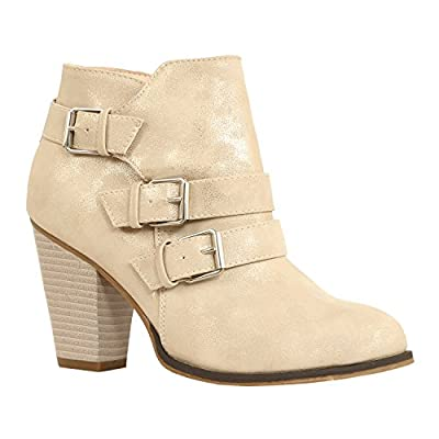 Guilty Heart - Womens Strappy Chunky Mid Heel Bootie - Closed Toe Ankle Boots