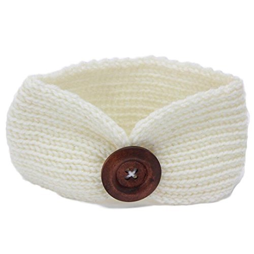 DaySeventh Baby Knitting Infant Kids Girl Button Headbands Head Wrap Knotted Hair Band (White)