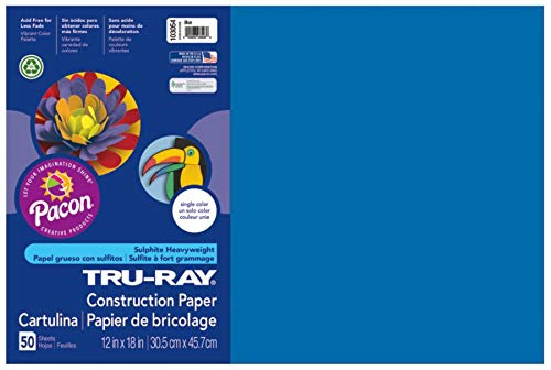 Pacon Tru-Ray Construction Paper, 12-Inches by 18-Inches, 50-Count, Blue (103054)