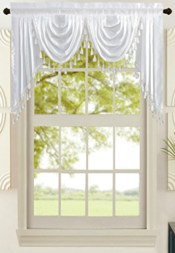 All American Collection New Attached Solid Faux Silk Double Waterfall Valance with ()