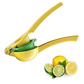 Top Rated Zulay Premium Quality Metal Lemon Lime Squeezer - Manual Citrus Press Juicer 58 GET EVERY LAST DROP FROM YOUR FRUIT our citrus press is proven to get more juice than dozens of other brands, you also will have NO SEEDS in your juice. Works perfectly on Meyer lemons, Key limes, limequats, Mexican limes, Eureka or Lisbon lemons, Rangpur or Tahiti limes, from Florida, California or Abroad our citrus juicer tool can squeeze them all with maximum result. SAVE TIME AND EFFORT with our easy-to-use and easy-to-store lemon squeezer, even a kid can use this citrus press. No more worrying about electricity or batteries. No more bulky, hard-to-clean juicers crowding the decor of your home bar or kitchen. Whether you're a chef or simply want a pampered squeeze, you can be drinking lemonade in a just seconds. STURDY HEAVY DUTY METAL BOWLS this 2-in-1 lemon press/lime press can juice limes, large lemons and even small sized oranges. This manual juicer is made with sturdy industrial aluminum and non-toxic certified lead-free coating, it is safe and reliable.