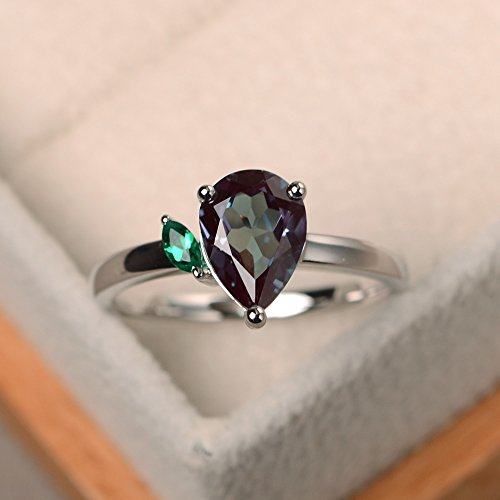 (Alexandrite rings for women silver pear cut sterling silver handmade jewelry customized)