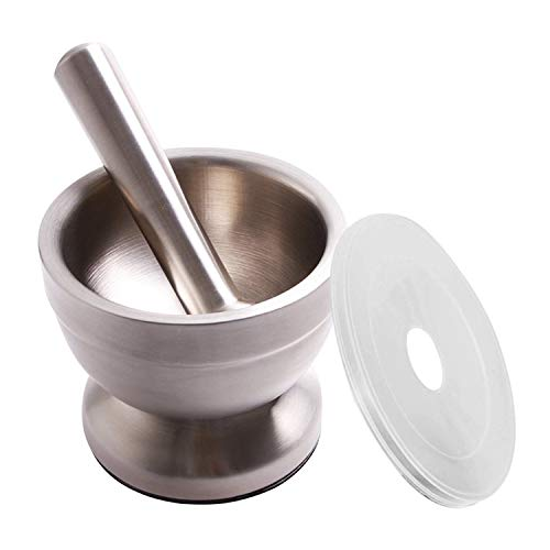 Bekith Mortar and Pestle Sets 18/8 Brushed Stainless Steel Spice Grinder Pill Crusher Molcajete Herb Bowl