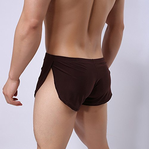 Men Sexy Underwear,LuluZanm Male Letter Pure Color Shorts Boxer Briefs Bulge Pouch Underpants Coffee by Luluzanm-Shorts (Image #3)