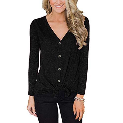 ANJUNIE Knit Tie Front Button Down T Shirt,Women's V Neck Long Sleeve Tunic Tops(Black,L)