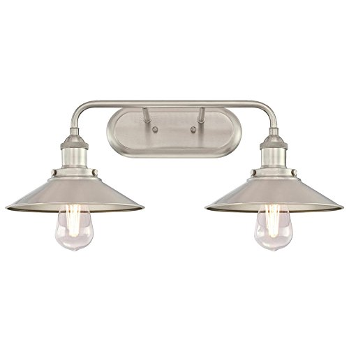 Westinghouse Lighting 6336300 Maggie Two-Light Indoor Wall Fixture, Brushed Nickel Finish 2 ()