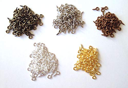 - 1000 Pcs 8mm Eye Hook Screw Pins Silver Plated Gold Plated Bronze Steel Clasp Jewelry Findings