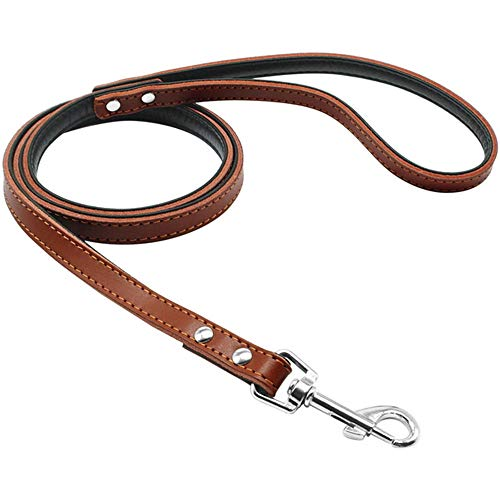- Long Elliot Dog Belt Leather Base with Metal Buckle Very Durable Big Dog Leash,Brown,M