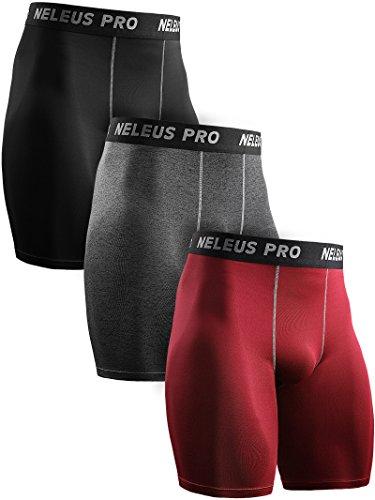 Neleus Men's 3 Pack Compression Shorts Running Workout Shorts,6034,Black,Grey,Red,US XL,EU 2XL