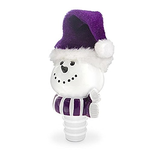 Epic 20-153 White Jolly Snowman with Purple Fur Christmas Hat Bottle (Snowman Wine Stopper)