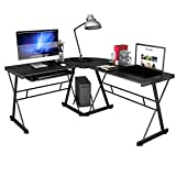 Tangkula L-Shaped Desk, 3-Piece Corner Computer Desk PC Laptop Table Workstation Home Office Black
