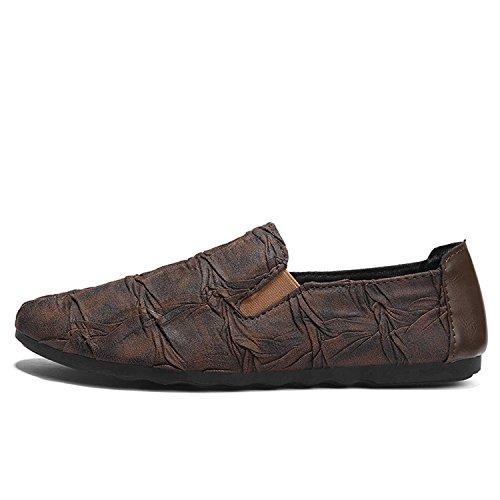 Casuales Slip Perezosos de Zapatos Suave Mocasines Cuero On Mocasines para Flats Bota Marrón Hombres Moccasins Mocasines de Botia pIOvwq