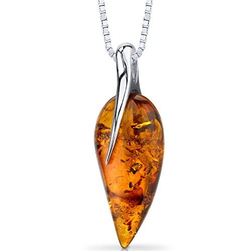 Baltic Amber Leaf Pendant Necklace Sterling Silver Cognac Color ()