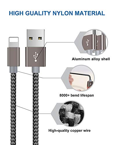 iPhone Charger Cable, iPhone Charging Cable 3 Pack 1.5M Nylon Braided iPhone Lead Long iPhone Cable Compatible with iPhone 11 X/XR/XS/XS Max 8 8plus 7 7plus 6 6s 5 iPad Air/Air 2/Mini/4 & More Grey