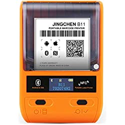 JINGCHEN B11 Portable Thermal Label Printer, Orange, Android & iOS, Windows, Wireless, Clothing, Merchandise, Perfume and Bread Industry Barcode Printers, 1 roll for Free(1.57x1.18in) 230