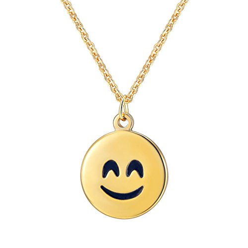 PROSTEEL Happy Face Necklace Smiley Face Round Pendant Necklace Smiling Emoji Gift for Women Jewelry (Happy Charm Face)