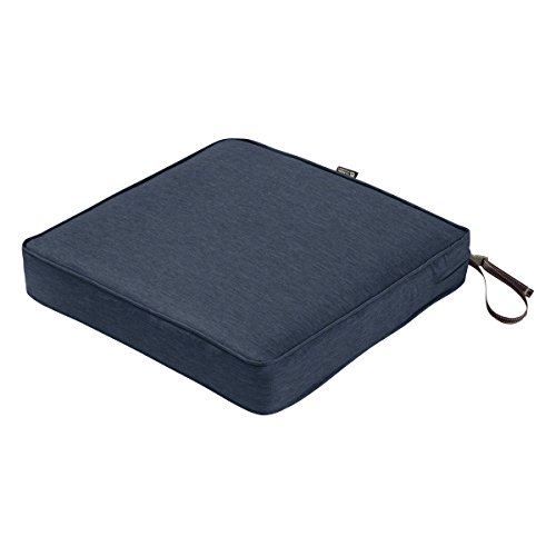 Classic Accessories Montlake Seat Cushion Foam & Slip Cover, Heather Indigo, 17x17x3