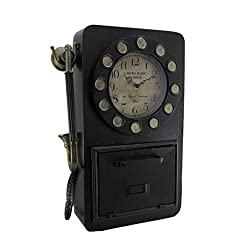 Your Heart's Delight Vintage Phone with Key Compartment Wall Clock, One Size, Multicolor
