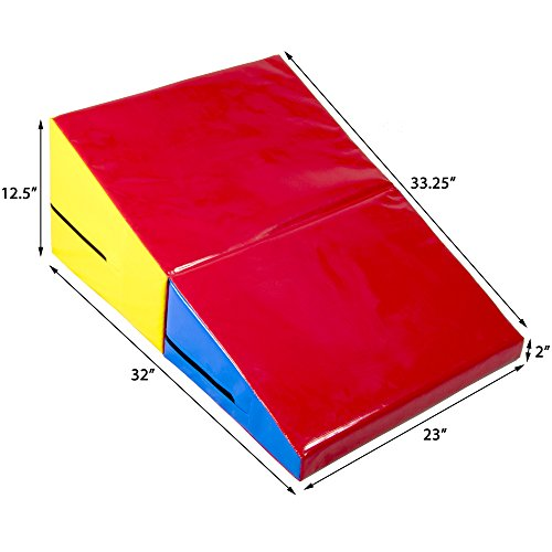 Small Incline Cheese Wedge Gymnastics Tumbling Mat - 32'' x 23'' x 12.5'' Inch Size!