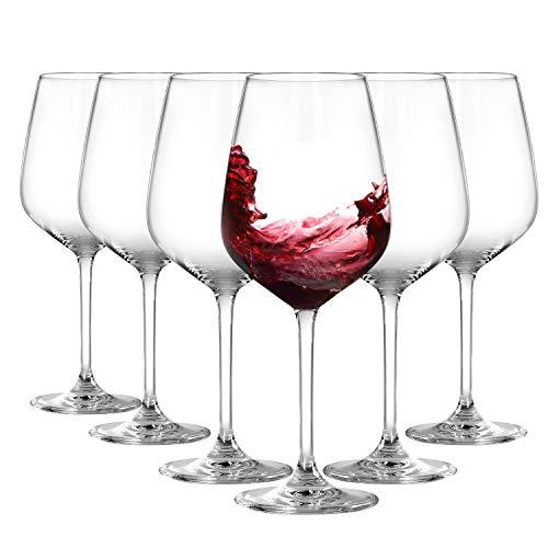 Crystal Red Wine Glasses Set of 6 – Lead-Free Premium Crystal Clear Glass – Wine Glass Gift Set with Glass Markers, Bottle Opener, Wine Stopper, Aerator Pourer – Best for Wedding Engagement Birthday