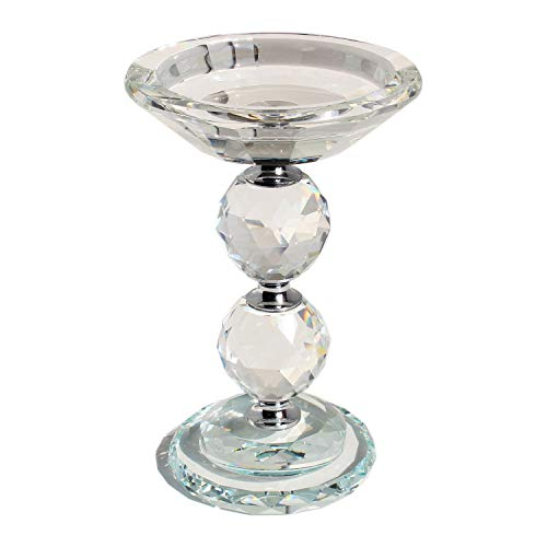 HINGMEI Candle Holders Crystal Glass Votive Pillar Candlesticks, Christmas Home Kitchen Decor, Wedding Centerpieces Tabletop Accessories, Gift Idea (Clear) (Glass Candle Champagne Holders)