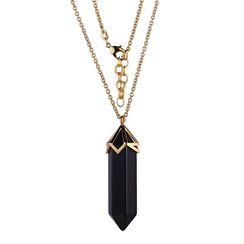 18k Gold Over Fine Silver Plated Bronze Genuine Black Agate 40x10mm Hexagonal Point Chakra Necklace, 32