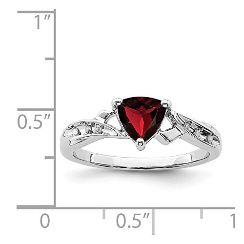 (Sterling Silver Rhodium Plated Diamond & Garnet Heart Ring (Color H-I, Clarity SI2-I1))