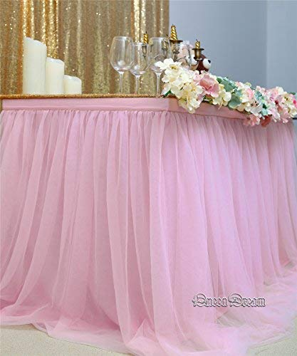 QueenDream Pink Fluffy Table Skirt Tulle Tutu Table Skirt for Rectangle Table for Girl's Birthday Party Baby Shower and Home Decor (L9(ft) H 30in) by QueenDream (Image #2)