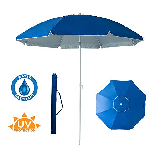 C-Hopetree 7 feet Beach Umbrella Sand Anchor Fiberglass Ribs Telescopic Tilt Adjustable Aluminum Pole Carry Bag UPF 50+ Royal Blue