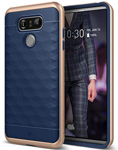 Caseology for LG G6 case [Parallax Series] - Slim Protective Secure Grip with Textured Geometric Design Case for LG G6 - Navy Blue