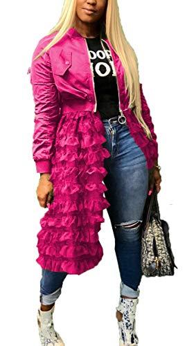 - LKOUS Womens Jackets Ruffled Sheer Mesh Long Sleeve Zip Up Shirt Dress Tops Anorak Trench Coat Pink L