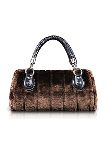 Winter Warm Fur Women Handbag Luxury Rabbit Fur Ladies Totes Soft Shoulder Crossbody Bag Bolsa Chocolate