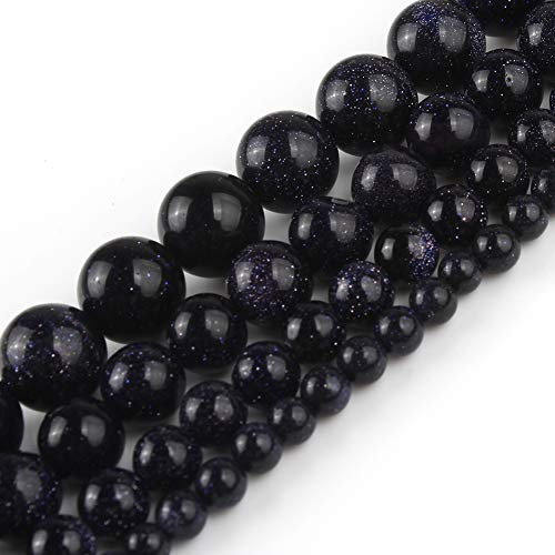 Yochus 10mm Dark Blue Sandstone Round Loose Beads Natural Stone Beads for Jewelry Making