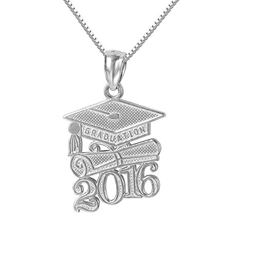 Sterling Silver 2016 Graduation Cap Diploma Charm / Pendant, Made in USA, 18