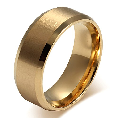 UOKOHO 18K Gold Wedding Ring Matte Finish Beveled Polished Edge Comfort Fit Width 8mm Size 11