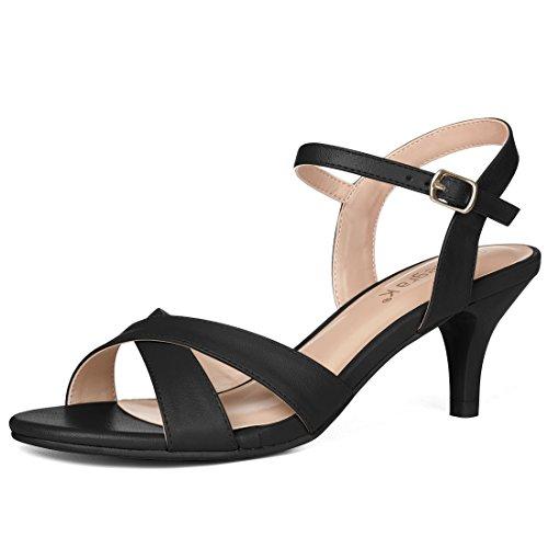 Allegra K Womens Cross Straps Kitten Heel Sandals Black 1dLc0