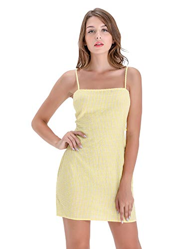 BARGOOS Women's Summer Twist Back Gingham Sexy Spaghetti Strap Bodycon Plaid Mini Skater Party Dress Yellow Small]()