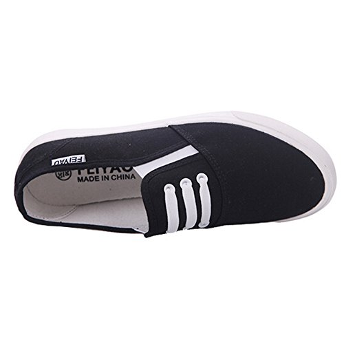 Slip Hattie on Loafers Lace Decoration Flats Women Black Canvas Elastic with Urqtrw