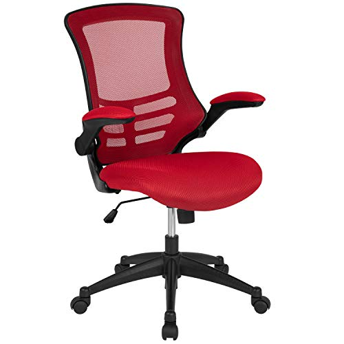 Flash Furniture Mid-Back Red Mesh Swivel Ergonomic Task Office Chair with Flip-Up Arms