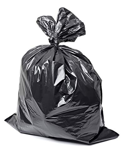 Plastico 55-60 Gallon Trash Bags 3 Mil Contractor Bags (50 Count) Individually Folded Ultra Double Thickness Leak Proof Metallocene Material Plastic (Black)