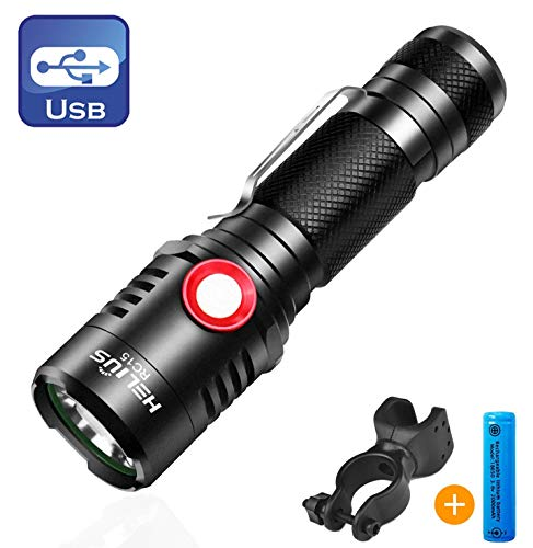 Rechargeable Tactical 18650 USB Flashlight, Powerful Cree XML2 Led Flashlights, Stepless Dimming Bright 1600 High Lumen Waterproof Torch Light, Intelligent Power Indicator, Bike Mount+Battery Included