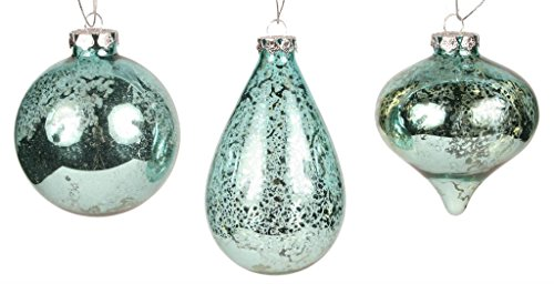 (Robins Egg Blue Vintage Look Glass Christmas Ornament Set of 3)