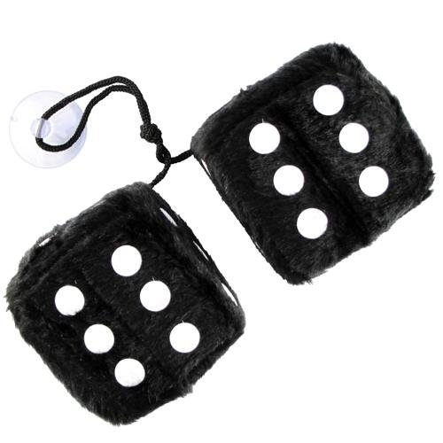 Hang in Car Car Accessory Black Fluffy Furry Dice