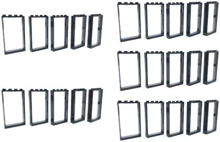 LEGO - 25 Black Window Frames 1x4x6 + 25 Trans Clear Glass Windoes - Loose Parts