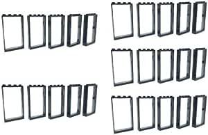 Trans Black Glass Lot of 20 Pcs Airplane Ship Lego White Window 1 x 4 x 2
