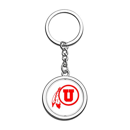 (Keychain The University of Utah Badge Keychain 3D Crystal Creative Spinning Round Stainless Steel Keychain Travel City Souvenir Key Chain)